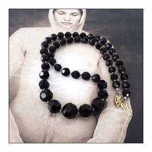 VTG Czech Jet Crystal Beads Mourning Necklace